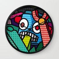 artsy Wall Clocks featuring Artsy Bot by Brandon Ortwein