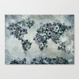 world map floral black and white Canvas Print