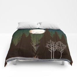 Into The Cold Winter Woods Comforters