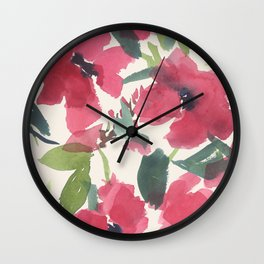 Red Poppy Dance Wall Clock