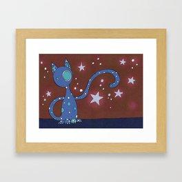 Bluey the Starry Cat Framed Art Print