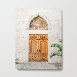 The wooden door of Sibenik Croatia | Fine art travel front door photography print | Pastel tones Metal Print