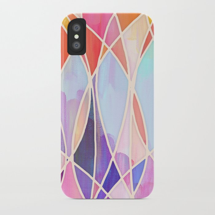 Purple & Peach Love - abstract painting in rainbow pastels iPhone Case