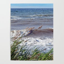 Waves Rolling up the Beach Poster