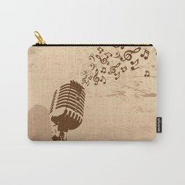Retro microphone with grunge music concept Carry-All Pouch