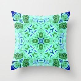 Blue Green Azurite Throw Pillow