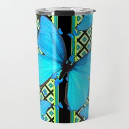 Ornate Black & Blue Azure Nouveau Butterfly Designs Travel Mug