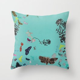 Turquoise Spiral Throw Pillow