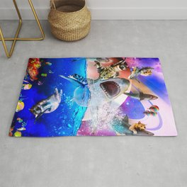 Rainbow Galaxy Cat Riding Shark In Space Rug
