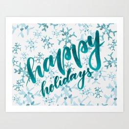 Happy Holidays - teal Art Print