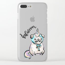 Funny Pug, Unicorn Pug, Funny Dog, Cute Pug, Cute Dog, Puppy dog, Unicorn dog Clear iPhone Case