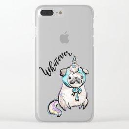 Funny Pug, Unicorn Pug, Funny Dog, Cute Pug, Cute Dog, Puppy dog, Unicorn dog Clear iPhone Case