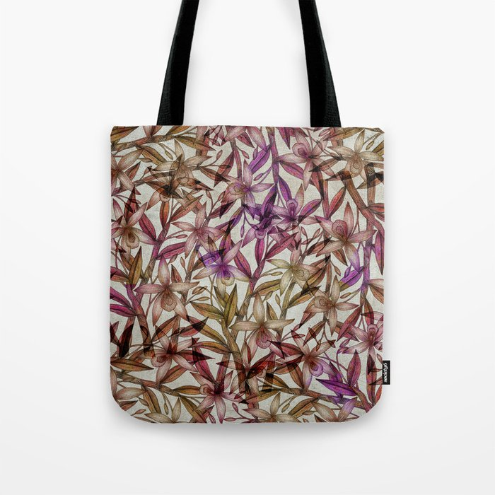 Orchid pattern Tote Bag