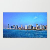 new york skyline Canvas Prints featuring New York  Skyline   by Judy Palkimas