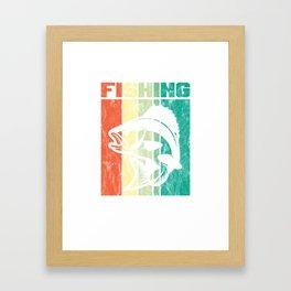 Vintage Retro Largemouth Sea Bass Fishing Fisher Framed Art Print