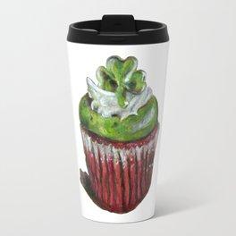 St. Patrick's Day Cupcake with Shamrock Travel Mug