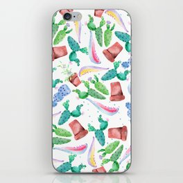 Colorful pink green lilac watercolor cactus Floral iPhone Skin