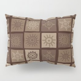 Brown african background with sun symbols Pillow Sham