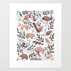 Animals of Australia Field Guide Art Print
