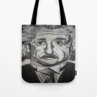 einstein Tote Bags featuring Einstein  by jleto123