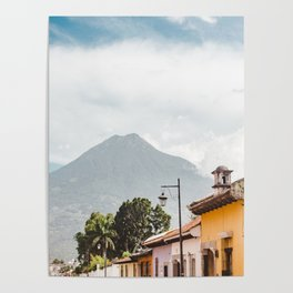 Colorful houses of a street in Antigua Guatemala with volcano views Poster