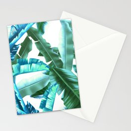 tropical banana leaves pattern turquoise Stationery Cards