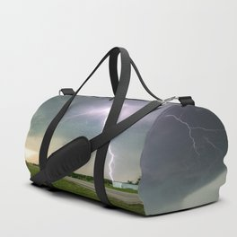 Close Call - Lightning Strike in Kansas Storm Duffle Bag