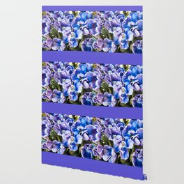Purple blue tulips blooming abstract Wallpaper
