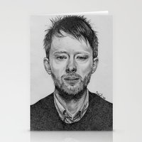 radiohead Stationery Cards featuring Radiohead - Thom Yorke Pencil Drawing by Florencia Mir