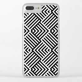 Beautiful pattern with striped lines. Black and white op art. Clear iPhone Case