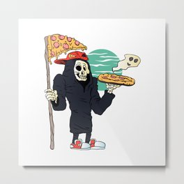 Pizza delivery reaper grim Metal Print