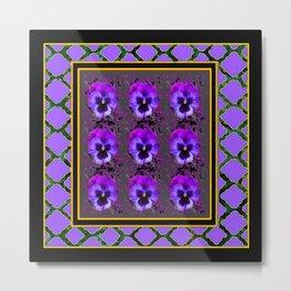 GARDEN OF PURPLE PANSY FLOWERS BLACK & TEAL PATTERNS Metal Print