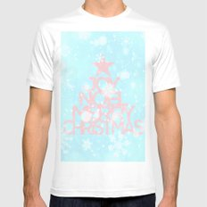 Joy,Noel,Merry Christmas and Star pattern - pink on aqua Mens Fitted Tee MEDIUM White
