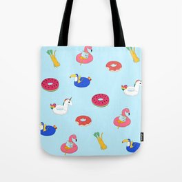 Summer pattern with cats playing in the pool Tote Bag