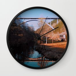 A bridge, the valley and beautiful reflections | Architectural photography Wall Clock