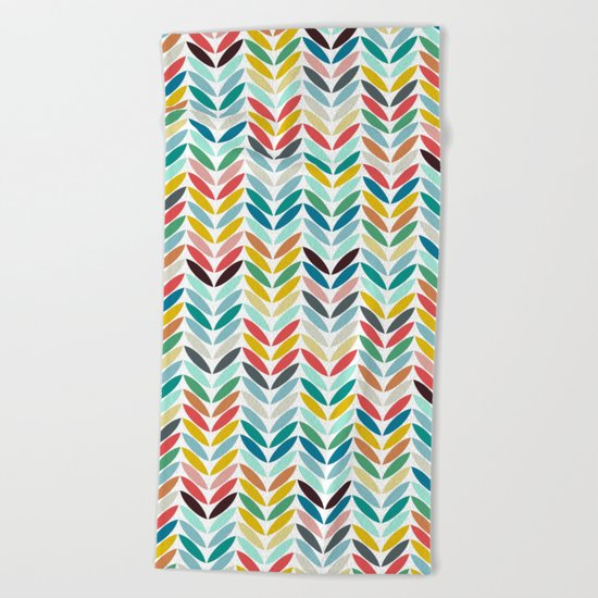 llama leaf arrow chevron white Beach Towel