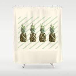 Four Pineapples - Retro Diagonal Stripes on Pastel Lemon Shower Curtain