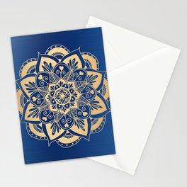 Blue and Gold Flower Mandala Stationery Cards