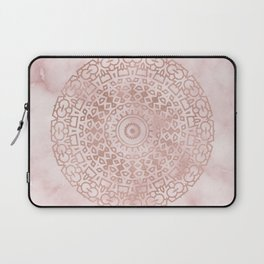 Misty pink marble rose gold mandala Laptop Sleeve