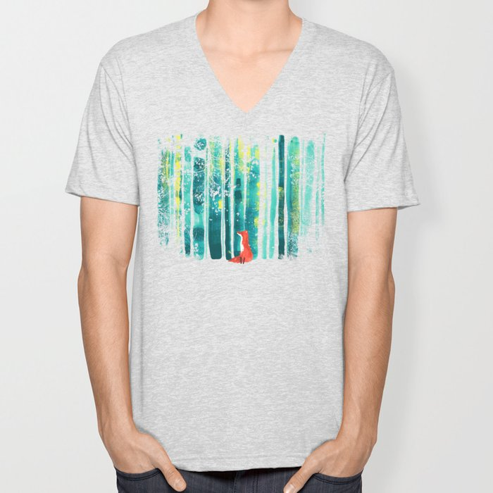 Fox in quiet forest Unisex V-Neck