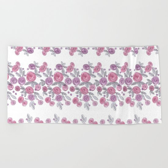 Bouquets of pink roses . Watercolor . Beach Towel