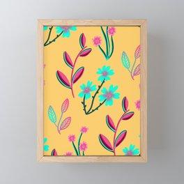 Spring Bloom: Mint Pink Yellow Floral Pattern Framed Mini Art Print