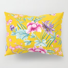 Chinoiserie mustard yellow floral Pillow Sham