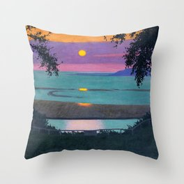 "Félix Vallotton ""Sunset at Grace, Orange and Violet Sky"" Throw Pillow"