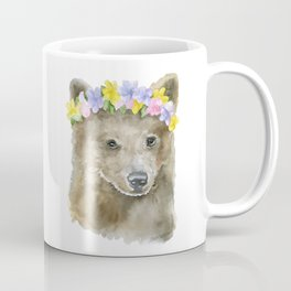 Brown Bear Floral Watercolor Coffee Mug