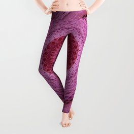 Mandala in red, white and pink colors Leggings