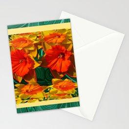 Green Malachite Patterns  & Dafflodils Still Life Stationery Cards