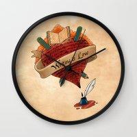 writing Wall Clocks featuring Writing is Love by gunberk