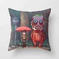 attack on titan Throw Pillows featuring My Neighbor Titan by Ron Chan