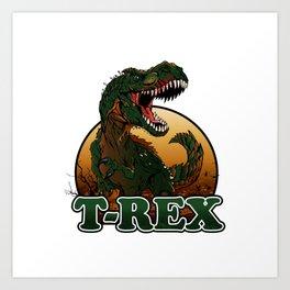 Agressive t rex illustration Art Print